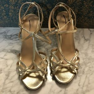 NWOT J. Crew Strappy Gold Cage Heels